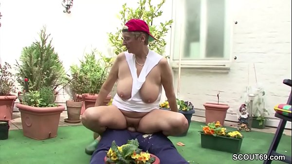 Granny, Young boy, Garden, Swiss, Grannies, Seduced