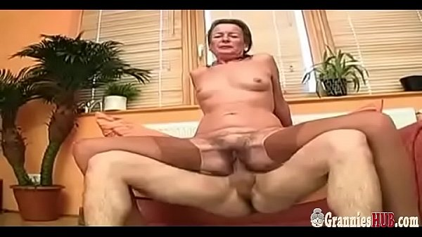 Grandma, Hairy pussy, Saggy, Young pussy, Saggy tits, Young big tits