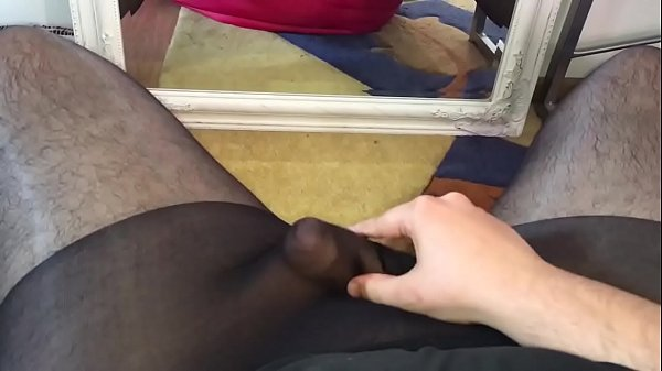 Black pantyhose, Cum pantyhose, Playing, Cummed